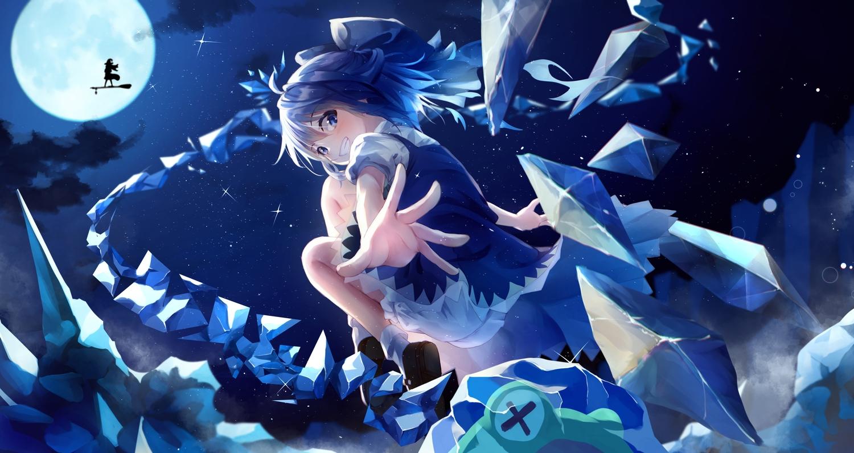 2girls blue_eyes blue_hair cirno clouds dress fairy kirisame_marisa moon night shun'ya_(daisharin36) silhouette sky stars touhou wings witch
