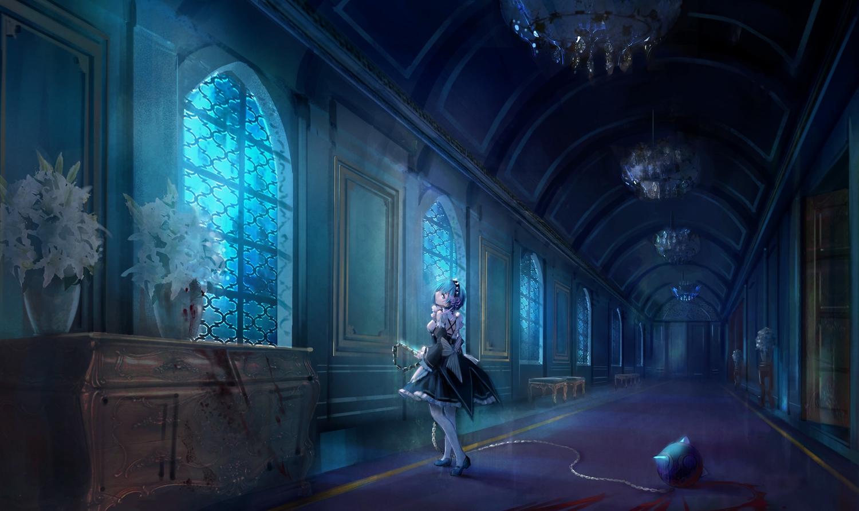 aliasing blood blue_hair dark flowers headband luciana1 maid rem_(re:zero) re:zero_kara_hajimeru_isekai_seikatsu short_hair weapon