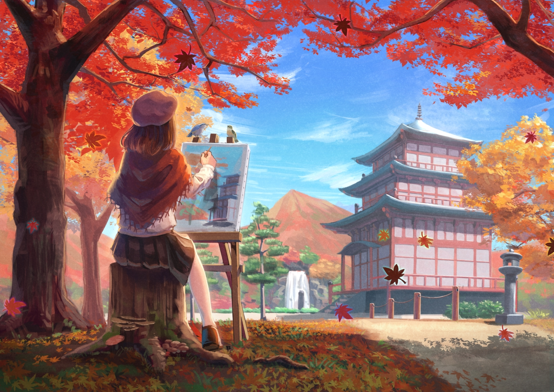 animal autumn bird brown_hair clouds kurageso leaves original scenic short_hair sky stairs tree water waterfall