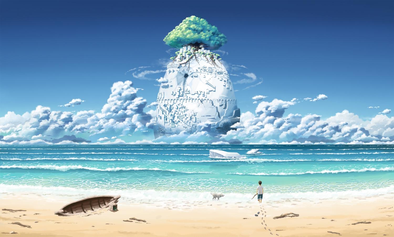 animal beach boat building clouds dog inoki landscape original scenic short_hair shorts tree water