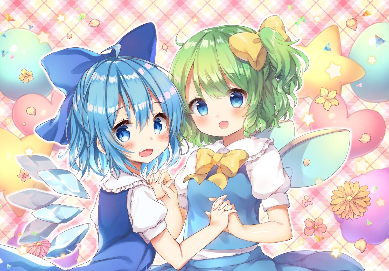2girls aqua_eyes aqua_hair blush bow cirno daiyousei dress fairy flowers green_hair petals pjrmhm_coa ponytail short_hair touhou waifu2x wings