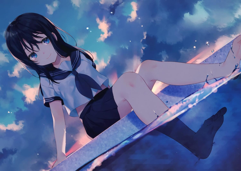 achiki barefoot black_hair blue_eyes clouds long_hair original scan school_uniform sky water