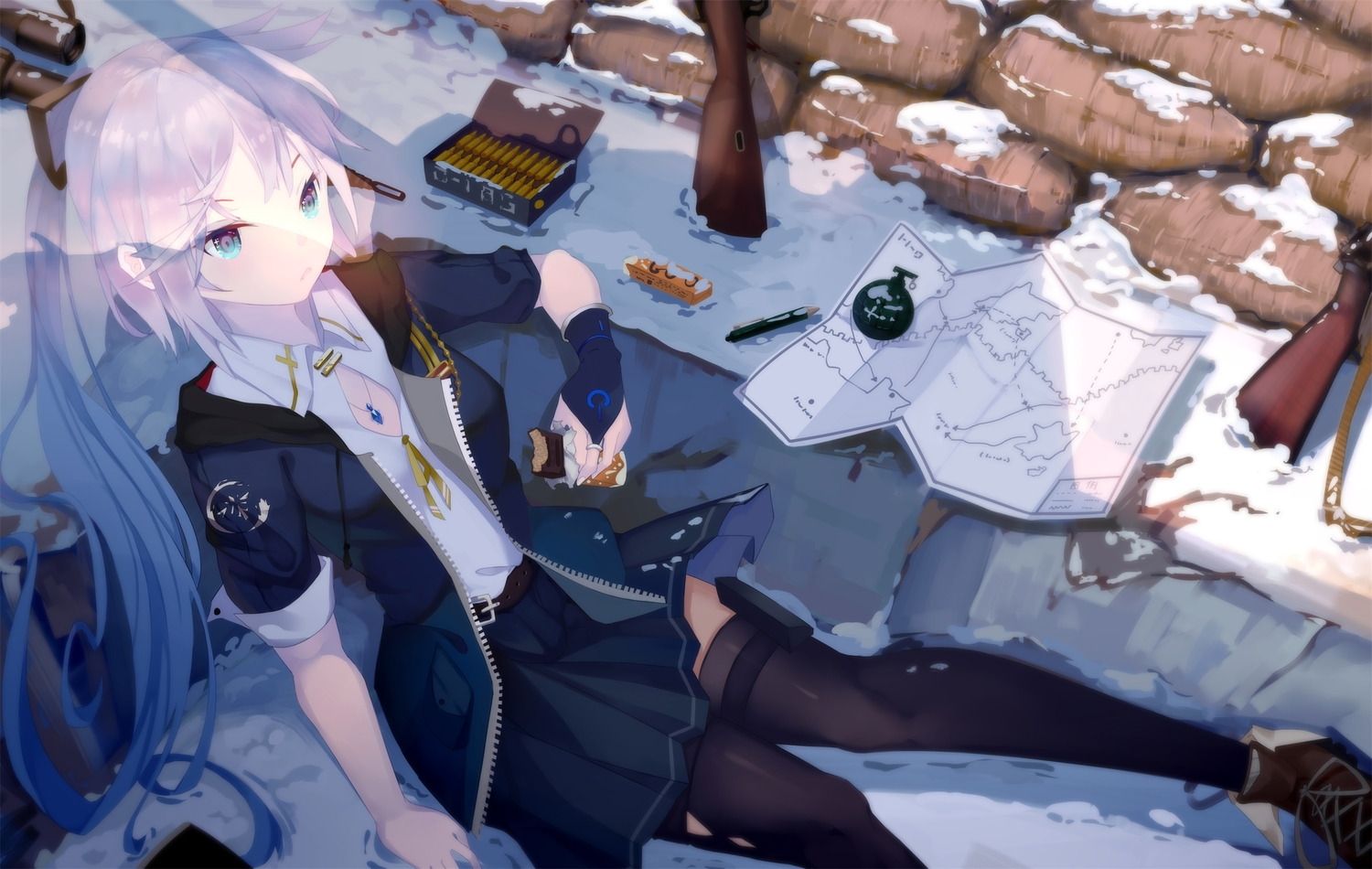 aqua_eyes food garter_belt gloves gray_hair gun jpeg_artifacts .l.l long_hair necklace original paper ponytail skirt thighhighs torn_clothes weapon winter