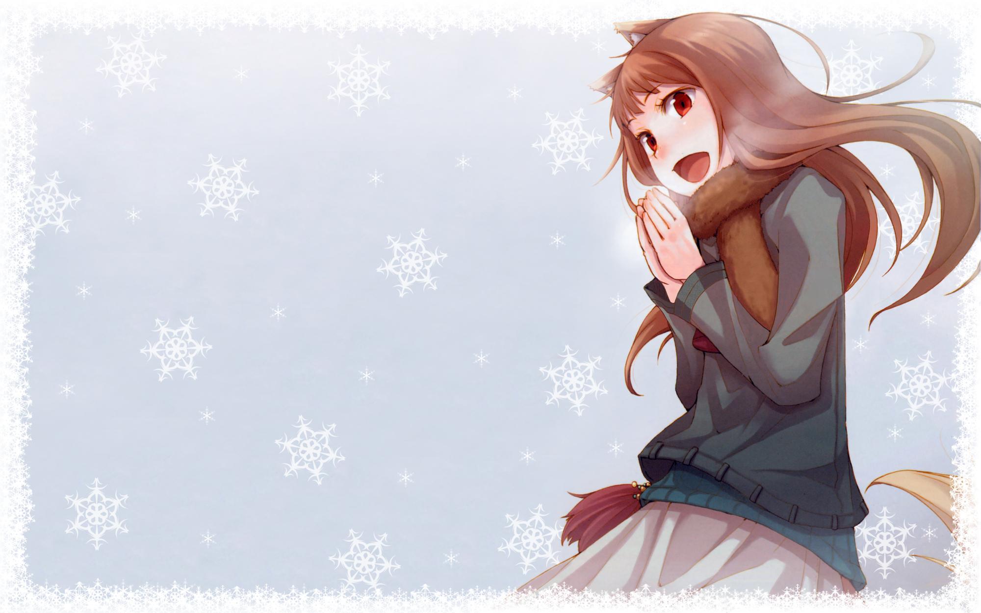 animal_ears brown_hair horo ookami_to_koushinryou red_eyes snow tail winter