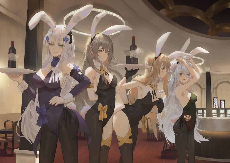 animal_ears anthropomorphism blush bow breasts bunny_ears bunnygirl cirilla drink g11_(girls_frontline) girls_frontline gray_hair green_eyes hk416_(girls_frontline) pantyhose tail ump-45_(girls_frontline) ump-9_(girls_frontline) white_hair