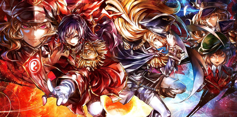 catgirl chen foxgirl hakurei_reimu kirisame_marisa kozou_(soumuden) military ofuda touhou uniform yakumo_ran yakumo_yukari