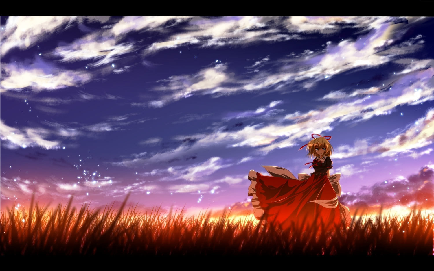 blonde_hair blue_eyes bow clouds grass medicine_melancholy nekominase short_hair sky sunset touhou