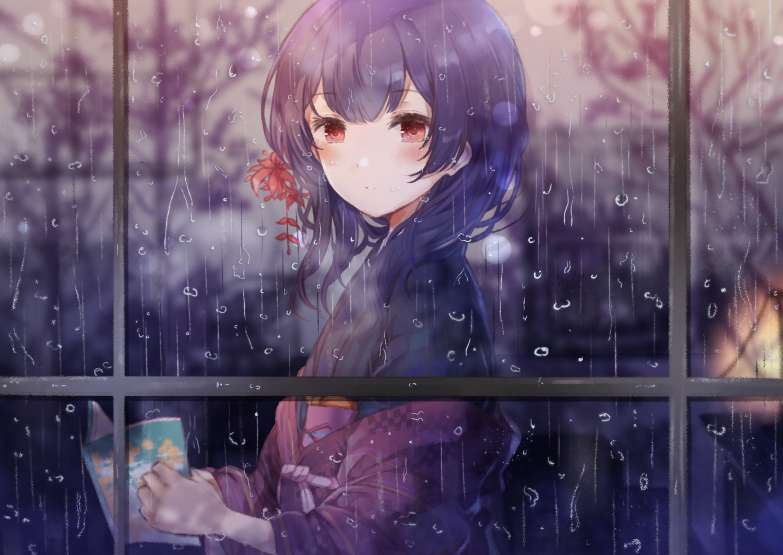 book idolmaster idolmaster_shiny_colors japanese_clothes kimono long_hair morino_rinze namamake purple_hair rain red_eyes water