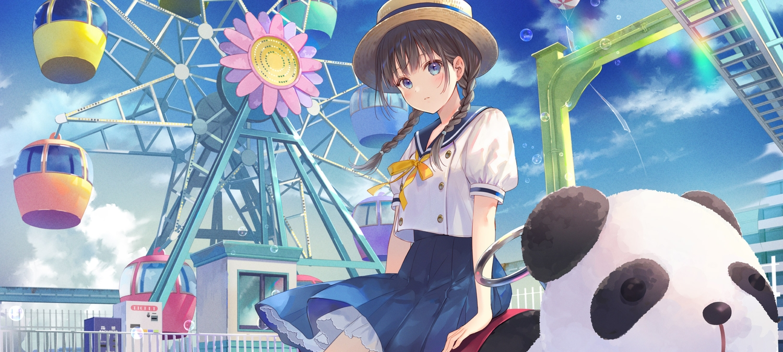 black_hair blue_eyes braids bubbles clouds fukahire_sanba hat original rainbow school_uniform skirt sky twintails