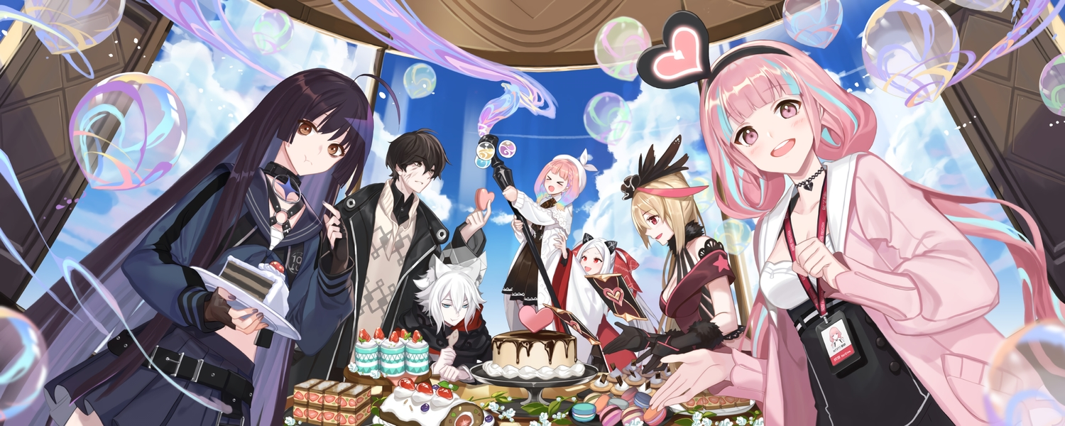 animal_ears black_hair blonde_hair brown_eyes brown_hair bubbles cake clouds empew food forever_7th_capital garter_belt gloves group hat headband long_hair male pink_eyes pink_hair red_eyes short_hair skirt sky tagme_(character) twintails white_hair