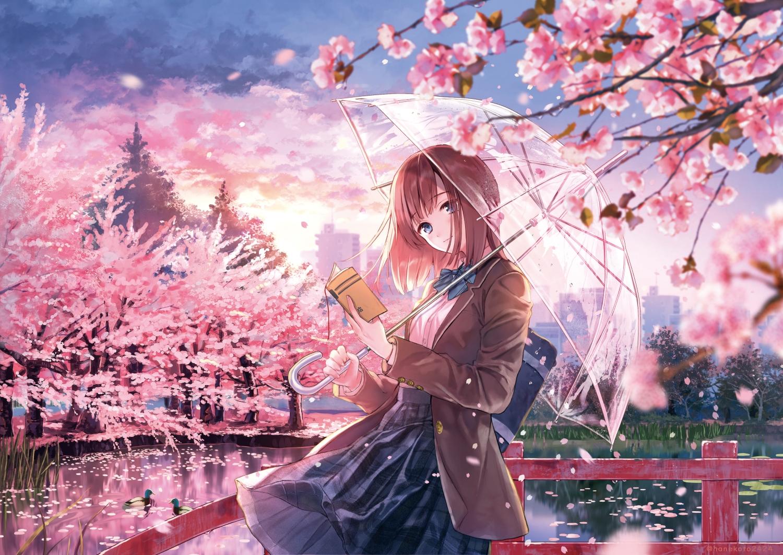 aliasing blue_eyes blush bow brown_hair building cherry_blossoms clouds flowers hanekoto original school_uniform skirt sky spring tree umbrella water watermark