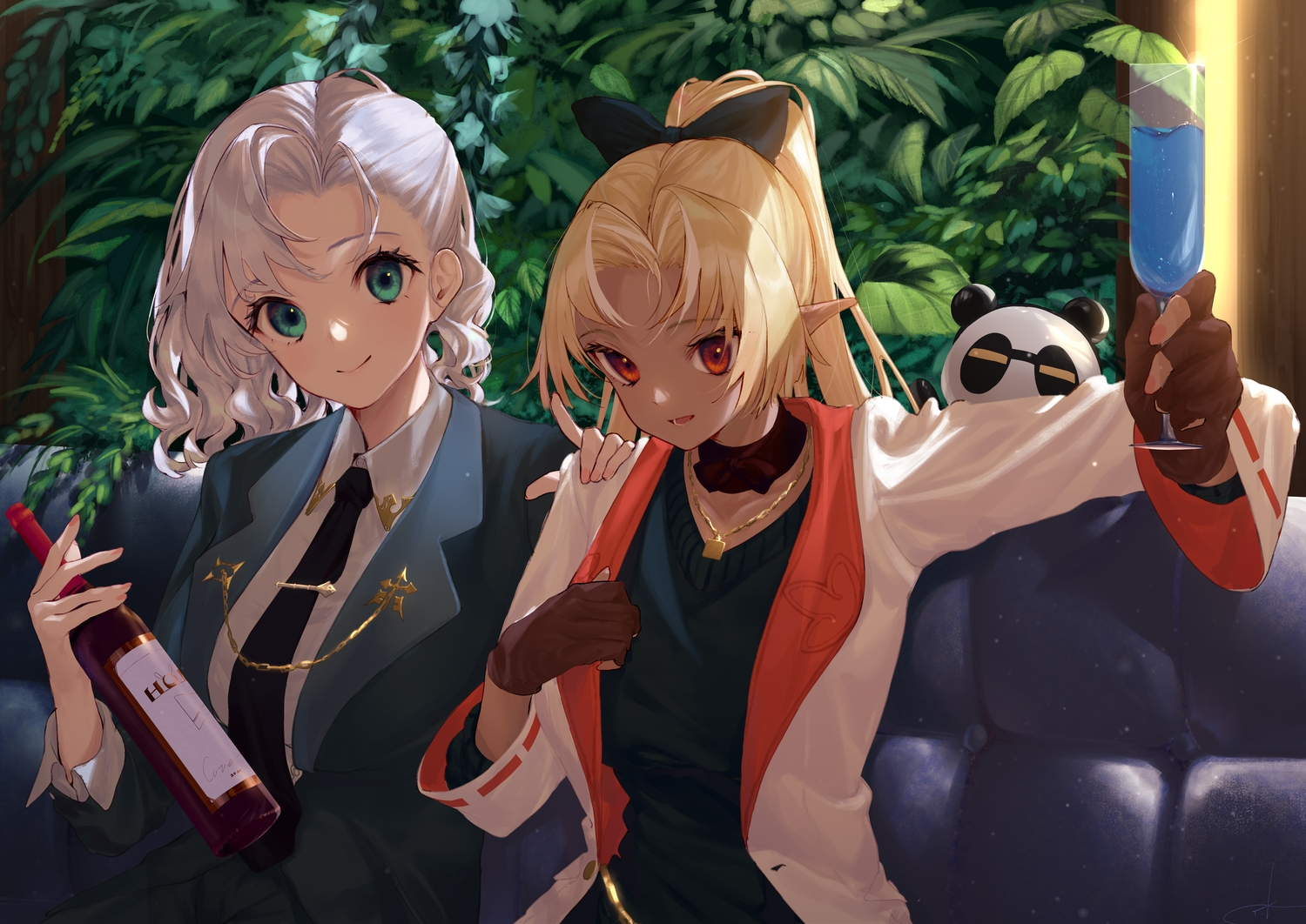 2girls blonde_hair blush couch drink gloves green_eyes hololive necklace pointed_ears ponytail red_eyes shiranui_flare shirogane_noel takubon tie white_hair