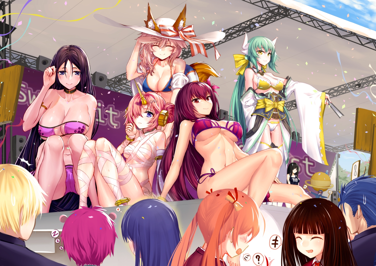 animal_ears bikini blue_eyes bow breasts cleavage fan fate/grand_order fate_(series) frankenstein green_eyes green_hair group hat horns kiyohime_(fate/grand_order) long_hair male minamoto_no_yorimitsu_(fate) navel onceskylark pink_hair ponytail red_eyes red_hair ribbons saiki saiki_kusuo_no_psi_nan scathach_(fate/grand_order) swimsuit tagme_(character) tail tamamo_no_mae_(fate) teruhashi_kokomi thighhighs