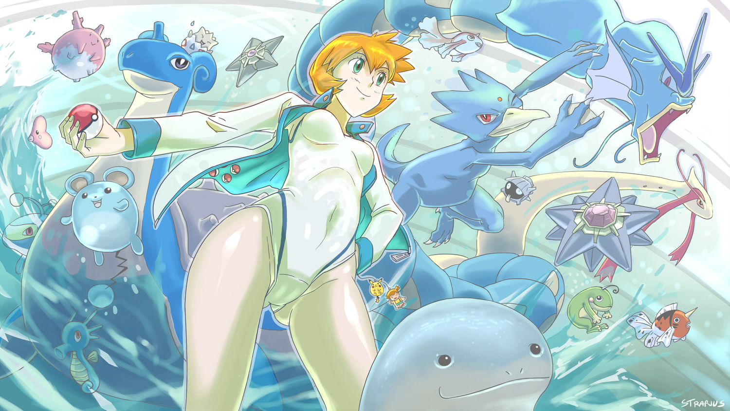 blue_eyes corsola goldeen golduck gyarados horsea kasumi_(pokemon) lanturn lapras luvdisc marill milotic orange_hair pikachu pokemon politoed quagsire seaking shellder short_hair starmie staryu strarius swimsuit togepi water