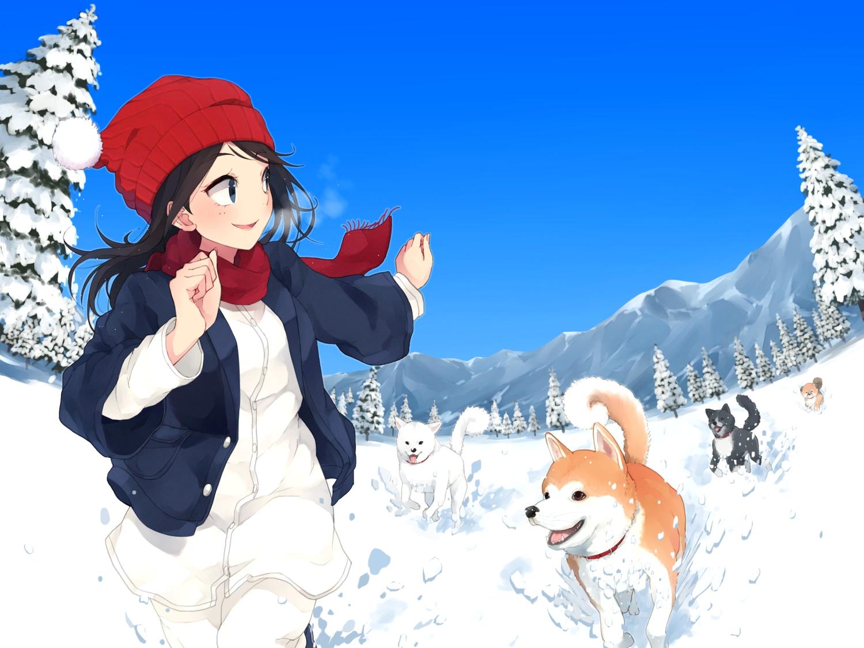 animal black_hair blue_eyes dog hat long_hair maruhana original scarf sky snow tree winter