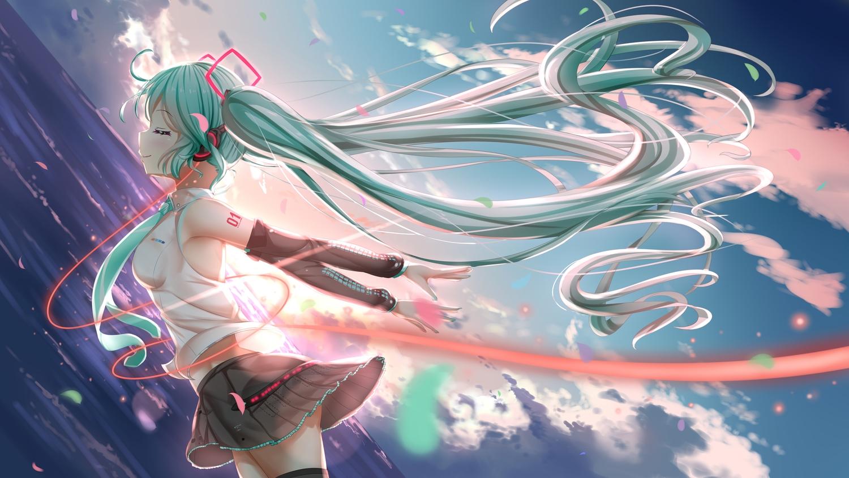 aqua_eyes aqua_hair denfunsan hatsune_miku headphones sky twintails vocaloid water