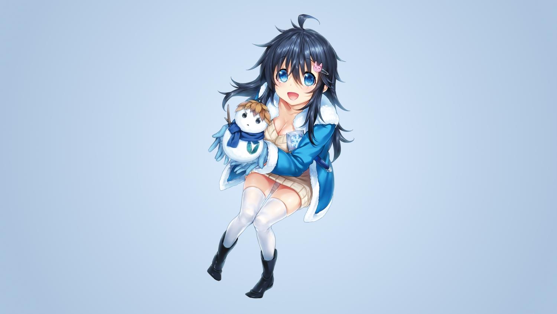 black_hair blue_eyes breasts cleavage gradient hisashi_(nekoman) long_hair netoge_no_yome_wa_onna_no_ko_janai_to_omotta? photoshop snow snowman tamaki_ako thighhighs zettai_ryouiki