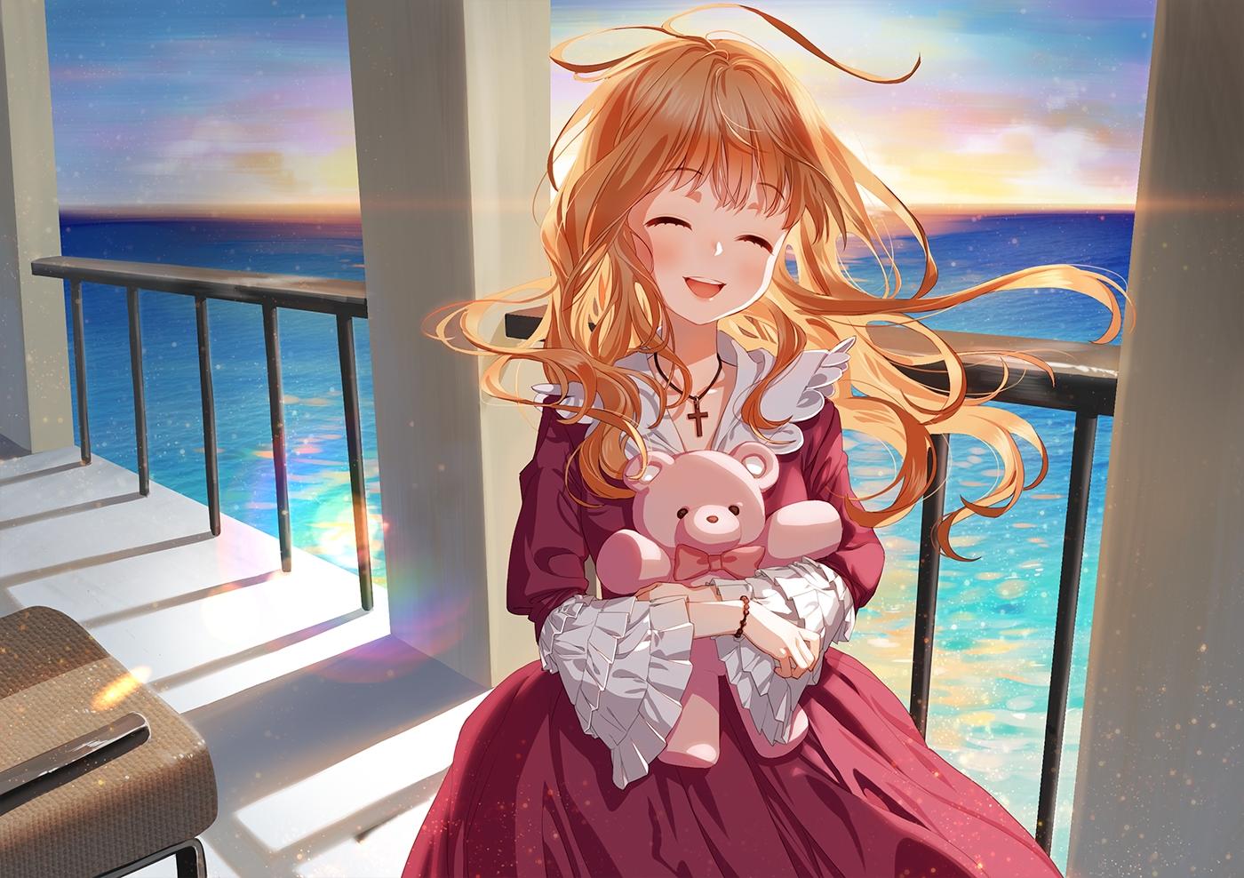 cross lolita_fashion long_hair necklace oohhya orange_hair original sky teddy_bear water wristwear
