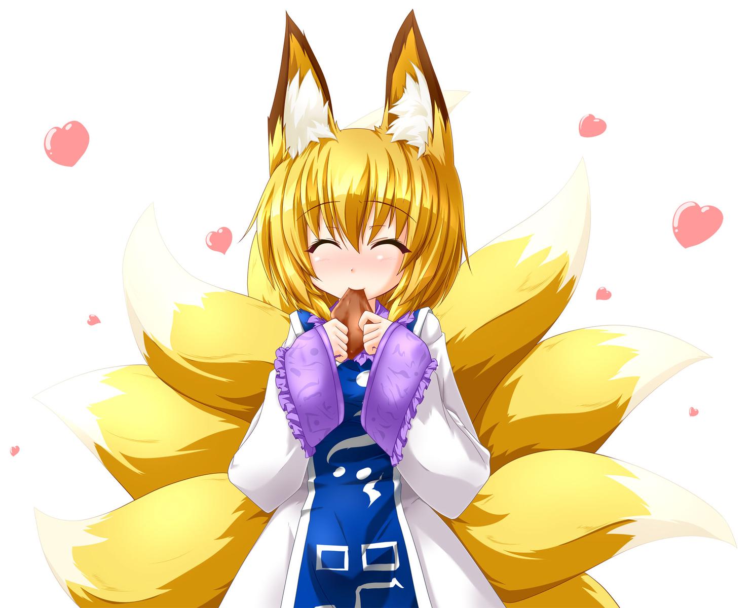animal_ears blonde_hair blush food foxgirl kazami_karasu multiple_tails short_hair tail touhou yakumo_ran