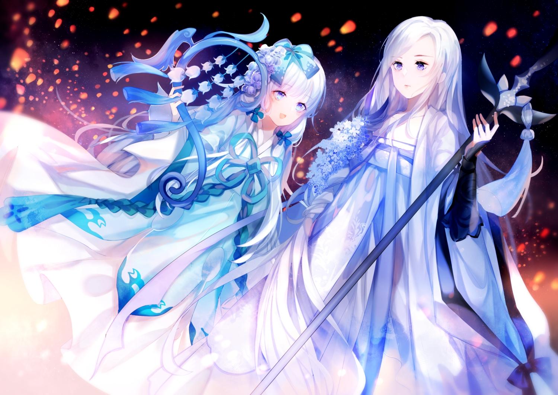 2girls aqua_eyes blue_eyes chinese_clothes dress flowers long_hair staff white_hair yu_jiu