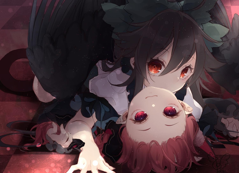 2girls animal_ears black_hair catgirl kaenbyou_rin long_hair pointed_ears red_eyes red_hair reiuji_utsuho shoujo_ai signed tail touhou toutenkou wings