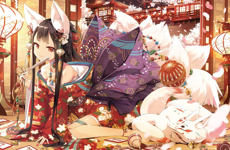 animal_ears cura foxgirl japanese_clothes jpeg_artifacts sarashi tail underwear