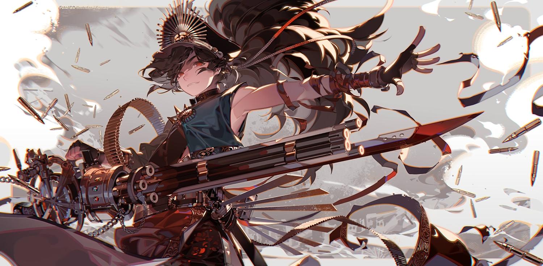 all_male black_hair chain collar fate/grand_order fate_(series) gloves gun hat katana kawacy kippoushi_oda_(fate) long_hair male nobunaga_oda_(fate) ponytail red_eyes sword waifu2x watermark weapon