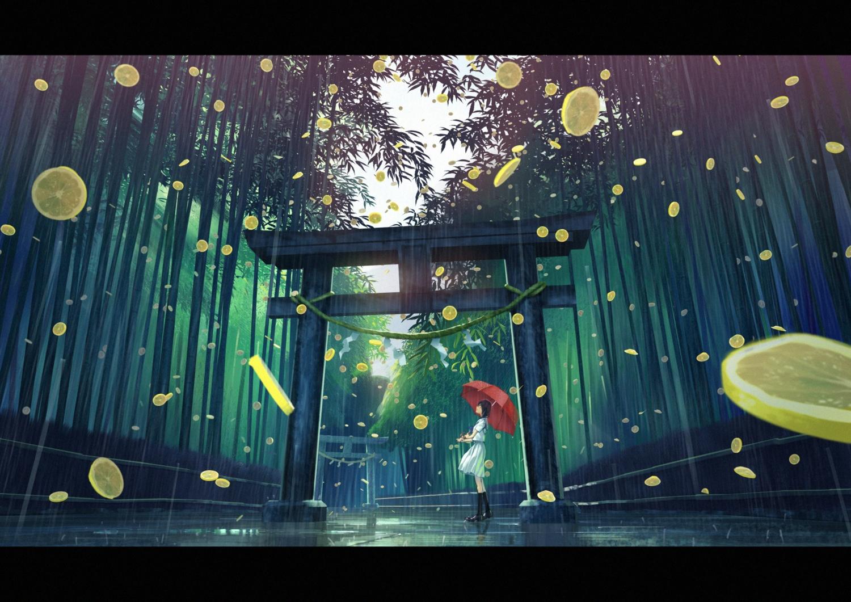 amino_(tn7135) food forest fruit original scenic school_uniform torii tree umbrella