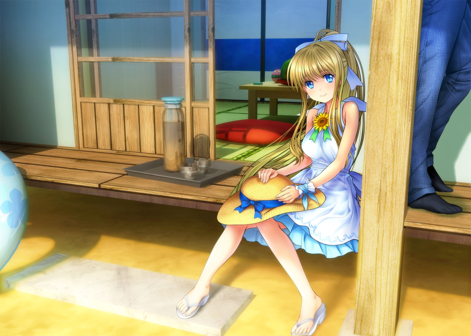 3d air blonde_hair blue_eyes dress hat kamio_misuzu moonknives ponytail ribbons summer_dress