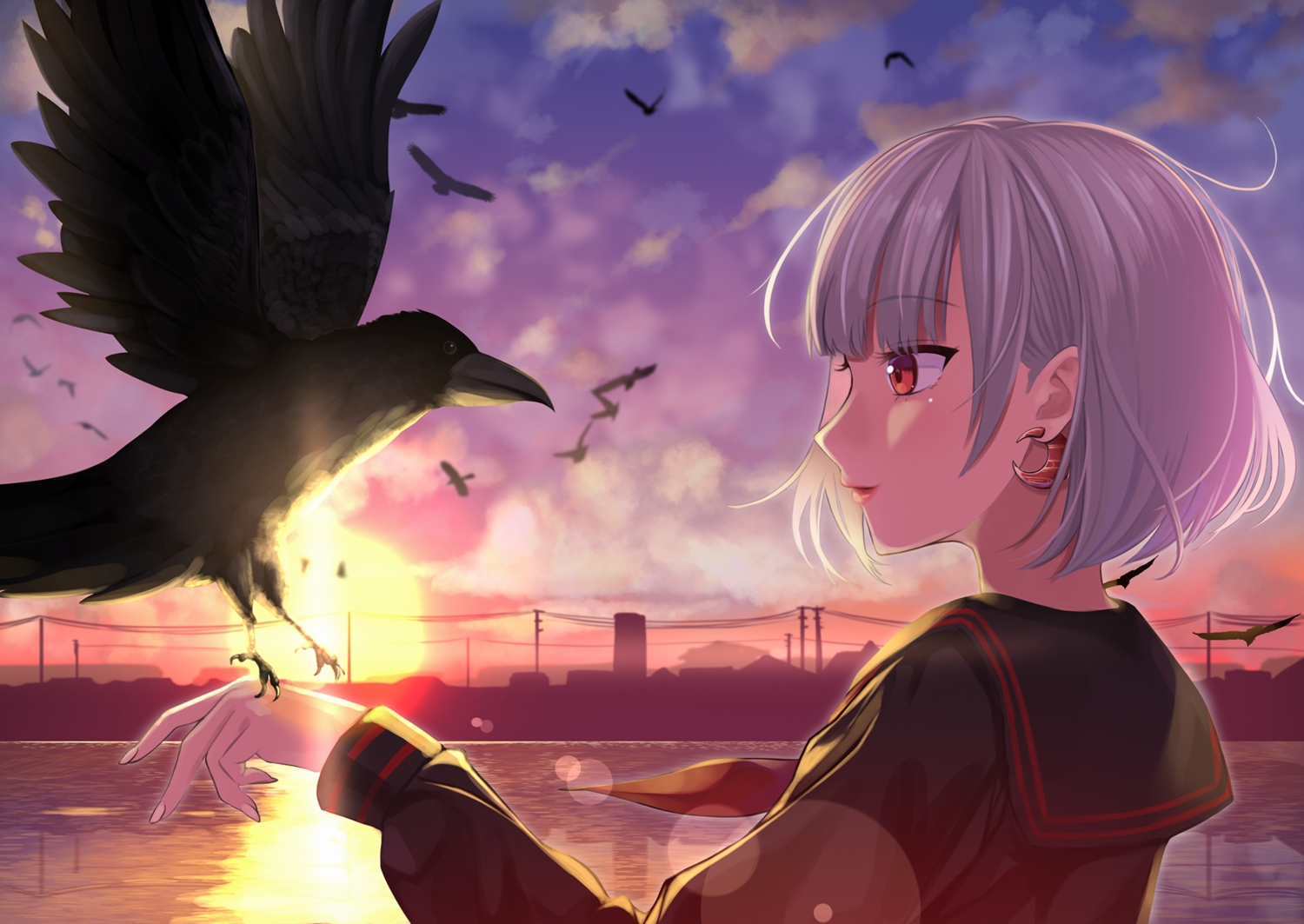 animal bird close original red_eyes shaketarako short_hair sunset white_hair