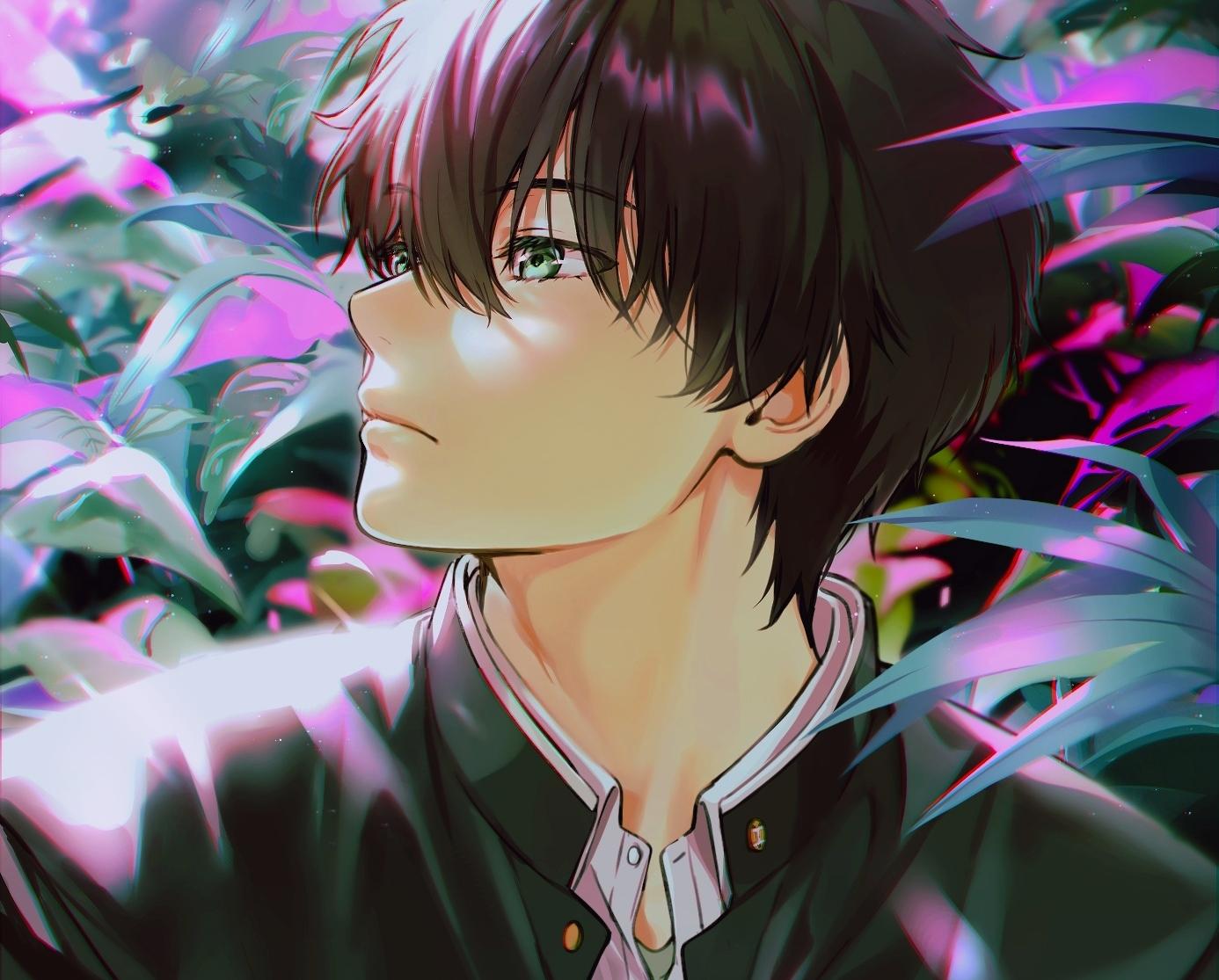 all_male black_hair close cropped green_eyes hyouka leaves male mery_(apfl0515) oreki_houtarou school_uniform short_hair