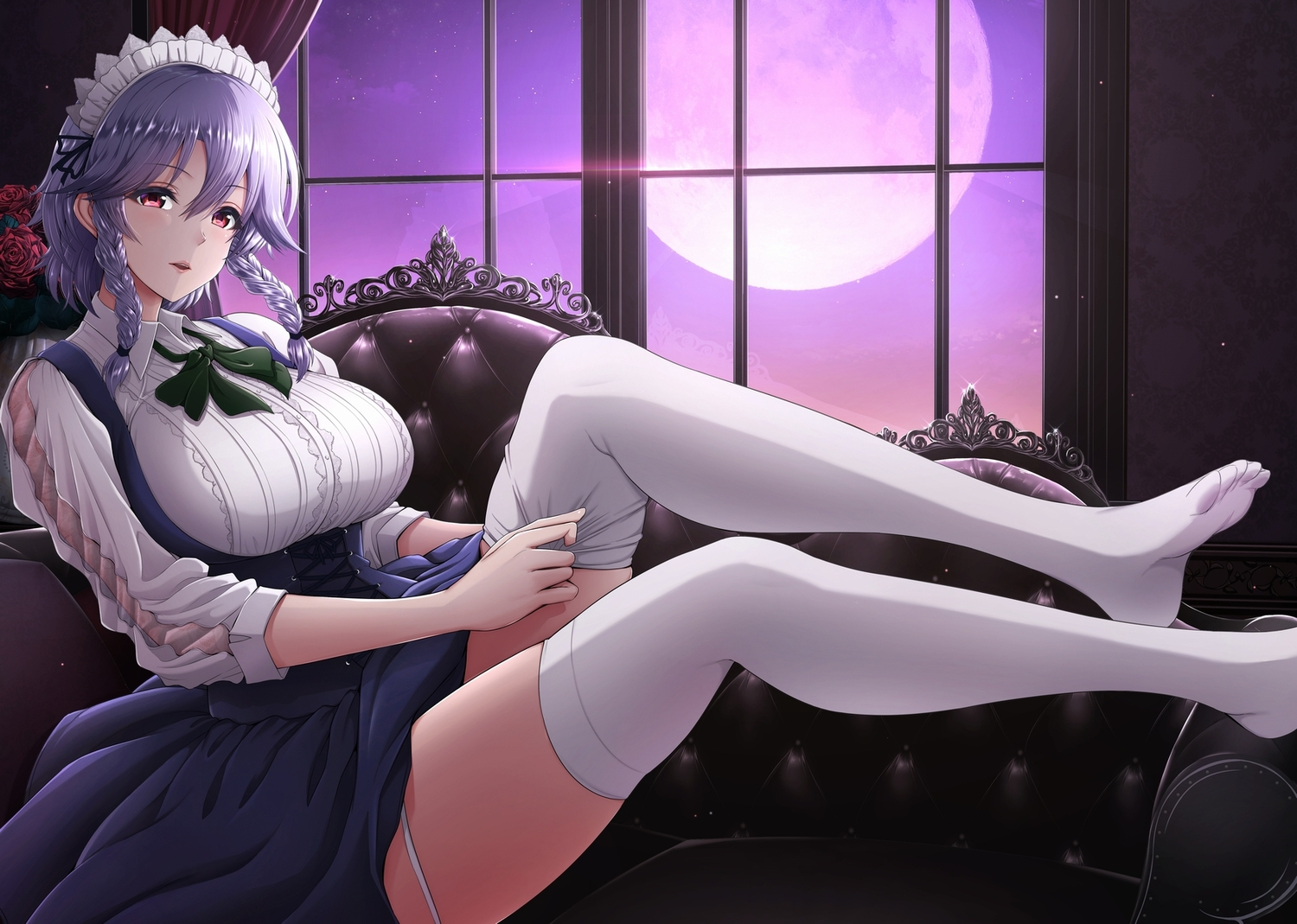 braids corset gray_hair izayoi_sakuya maid moon night red_eyes see_through shirt sky stockings touhou twintails umasan