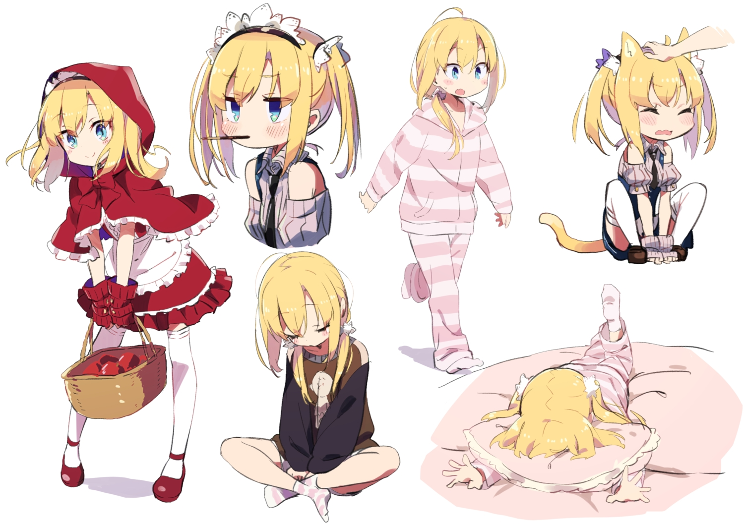 amaryllis_class animal_ears apple apron aqua_eyes bed blonde_hair candy cape catgirl chocolate cosplay dress food fruit gloves headdress hoodie kotohara_hinari little_red_riding_hood loli lolita_fashion long_hair pocky ponytail shorts sleeping socks tail tama_(tama-s) thighhighs tie twintails white