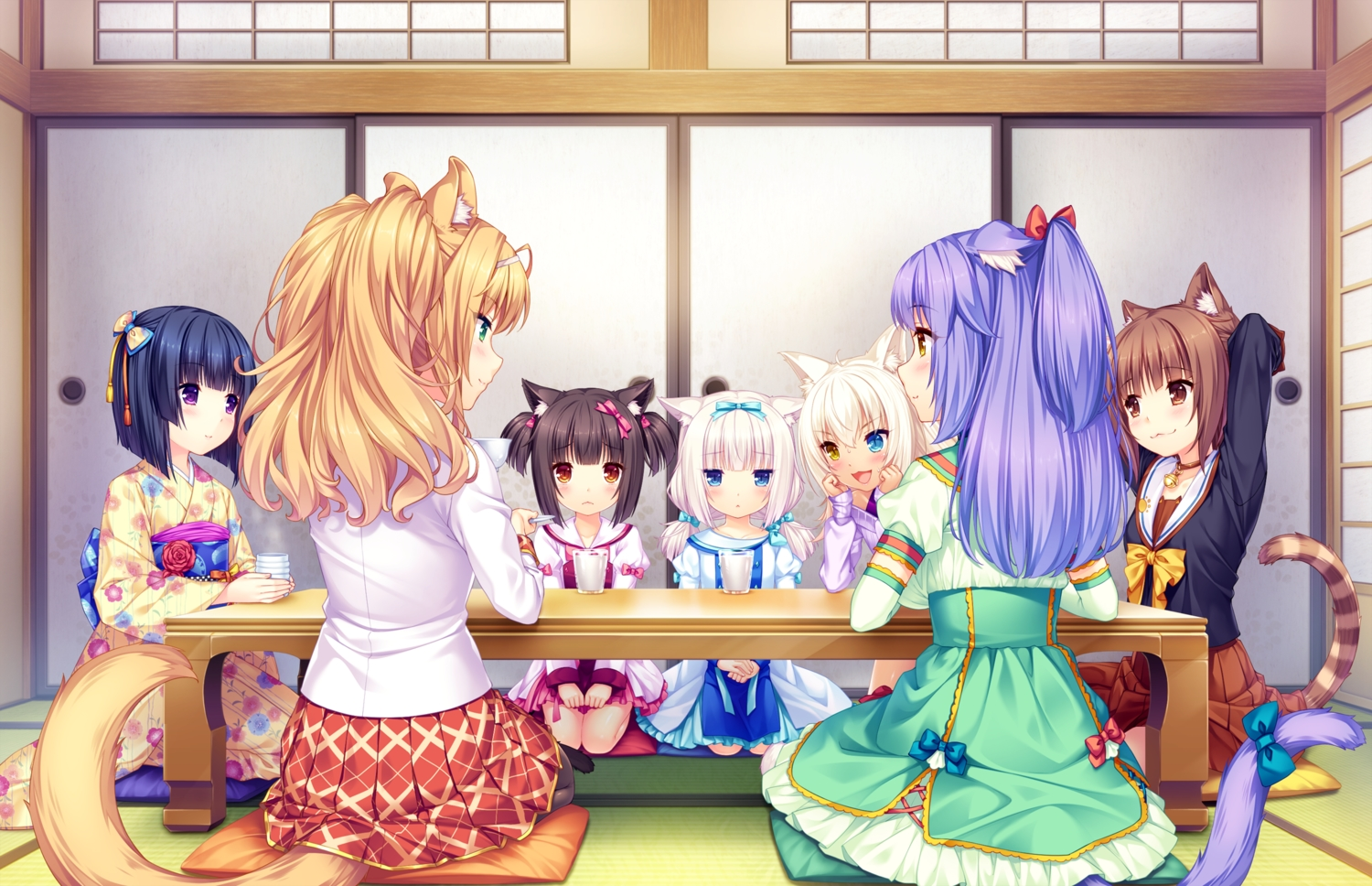animal_ears azuki_(sayori) bicolored_eyes black_hair blonde_hair blue_eyes brown_eyes brown_hair catgirl cat_smile chocola_(sayori) cinnamon_(sayori) coconut_(sayori) game_cg green_eyes group japanese_clothes kimono loli long_hair maple_(sayori) minazuki_shigure nekopara neko_works orange_hair purple_eyes purple_hair sayori seifuku short_hair tail vanilla_(sayori) white_hair yellow_eyes
