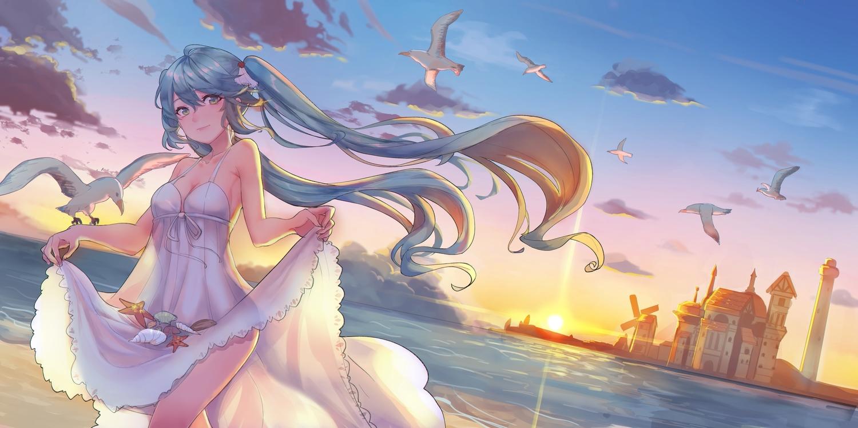 animal aqua_hair bird breasts cleavage dress green_eyes hatsune_miku ice_(6597201) lighthouse long_hair see_through skirt_lift summer_dress sunset twintails vocaloid water windmill