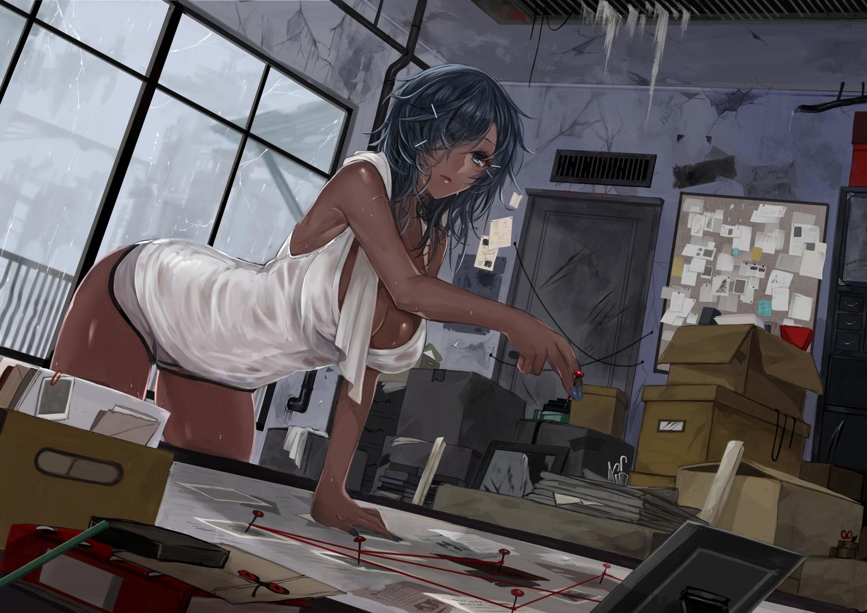 black_hair blue_eyes book breasts cleavage dark_skin long_hair original paper shorts towel ut_(apt) wet