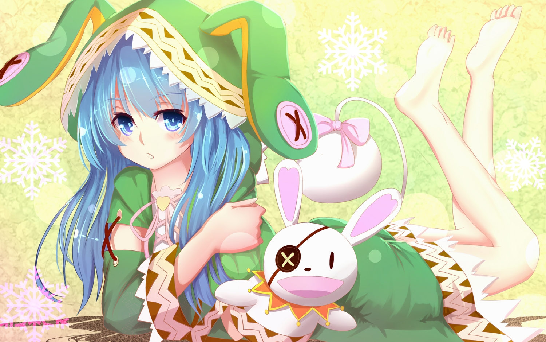 aqua_eyes aqua_hair bakanoe blush date_a_live doll long_hair puppet yoshino_(date_a_live) yoshinon_(date_a_live)