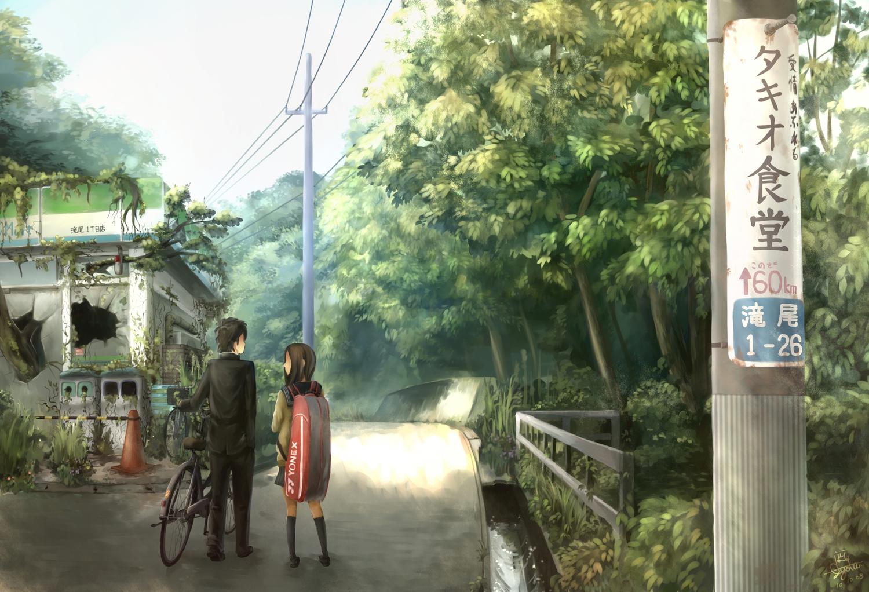bicycle black_hair brown_hair forest original scenic takio tree