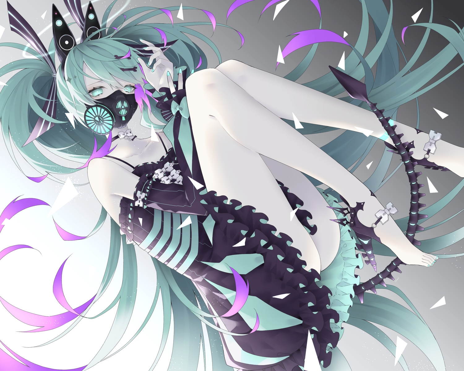 aqua_eyes aqua_hair barefoot dress gradient hatsune_miku kotarou_(kot_mochi) long_hair mask polychromatic tail twintails vocaloid