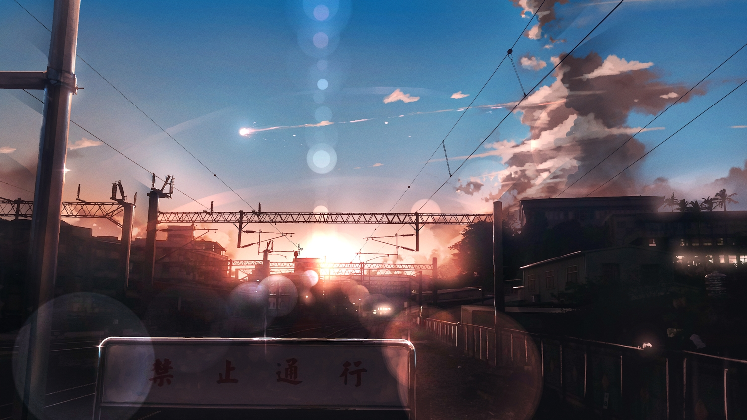anonamos building city clouds nobody original scenic sky sunset train translation_request