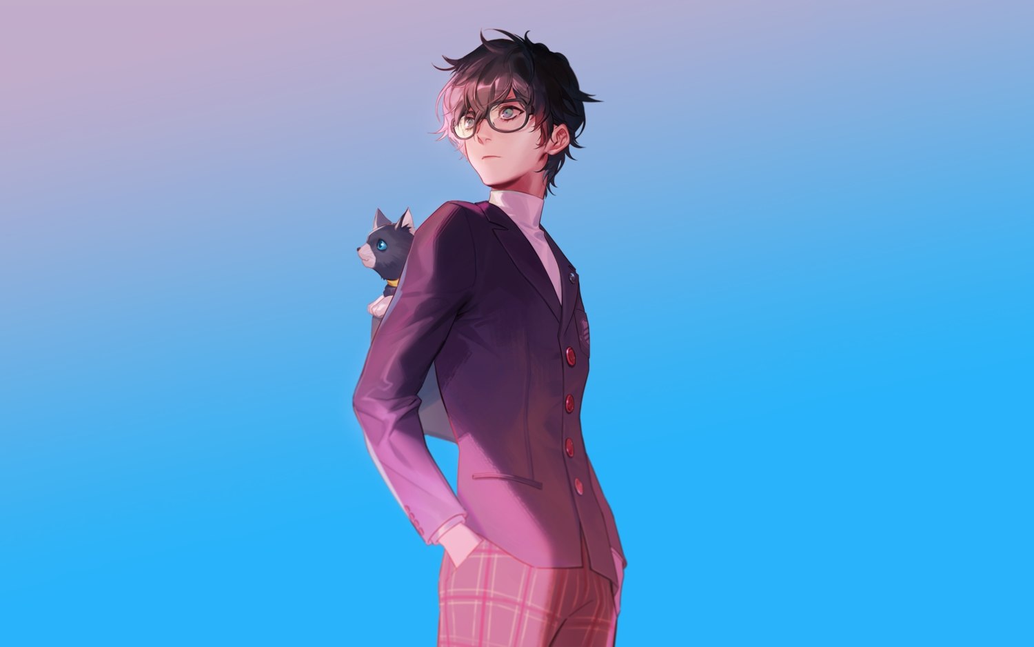 all_male amamiya_ren animal black_hair blue cat glasses gradient male naked_cat persona persona_5 short_hair