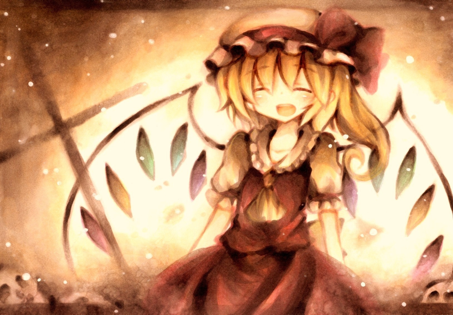 blonde_hair flandre_scarlet hat jpeg_artifacts polychromatic touhou vampire wings wiriam07