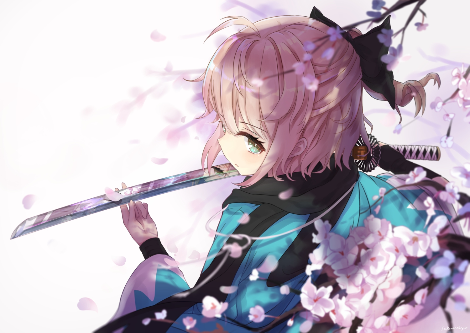 blonde_hair cherry_blossoms close fate/grand_order fate_(series) flowers green_eyes japanese_clothes katana kimono okita_souji_(fate) petals ponytail reflection sakurano_shiyue scarf short_hair signed sword weapon