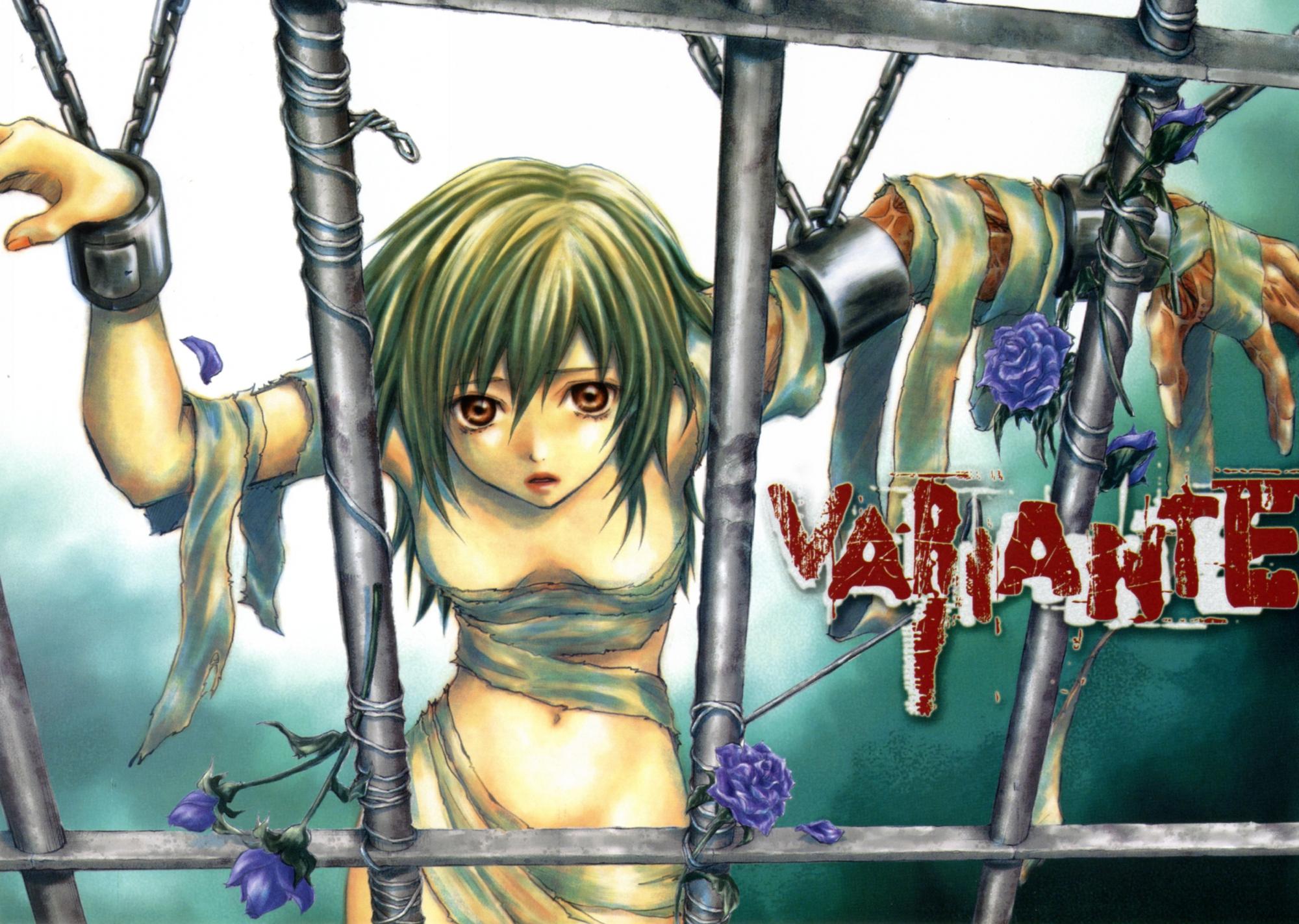 bandage bondage breasts brown_eyes chain cleavage flowers green_hair short_hair variante