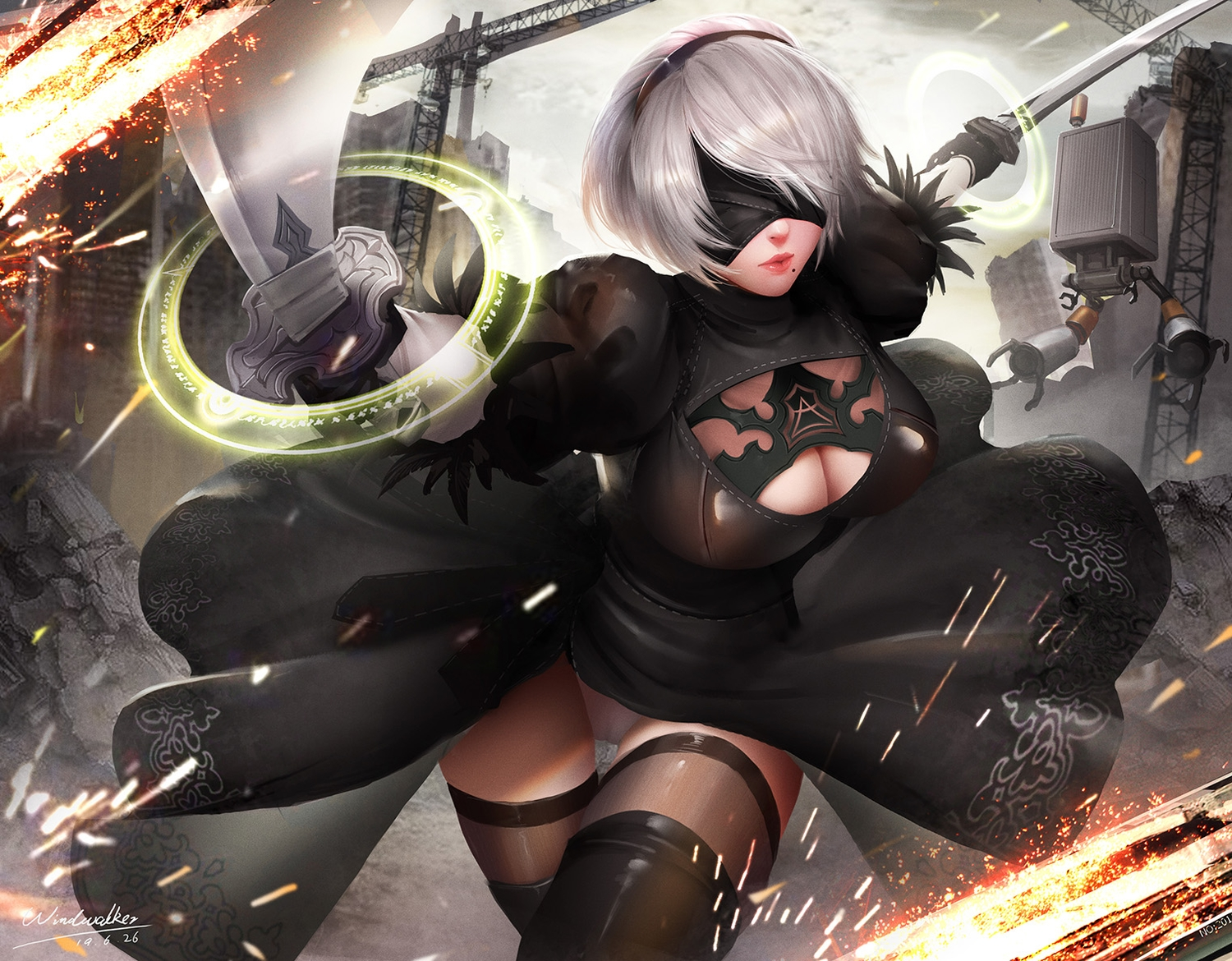 blindfold boots breasts building cameltoe city cleavage dress feathers gray_hair headband katana kaze_no_gyouja leotard nier nier:_automata pod_(nier:_automata) robot ruins short_hair signed sword thighhighs weapon yorha_unit_no._2_type_b