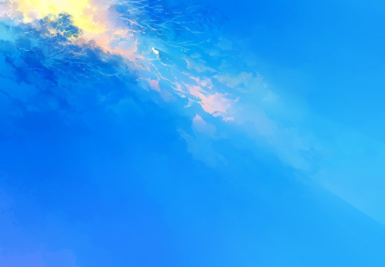 blue heriki_(trkj) original polychromatic silhouette tree