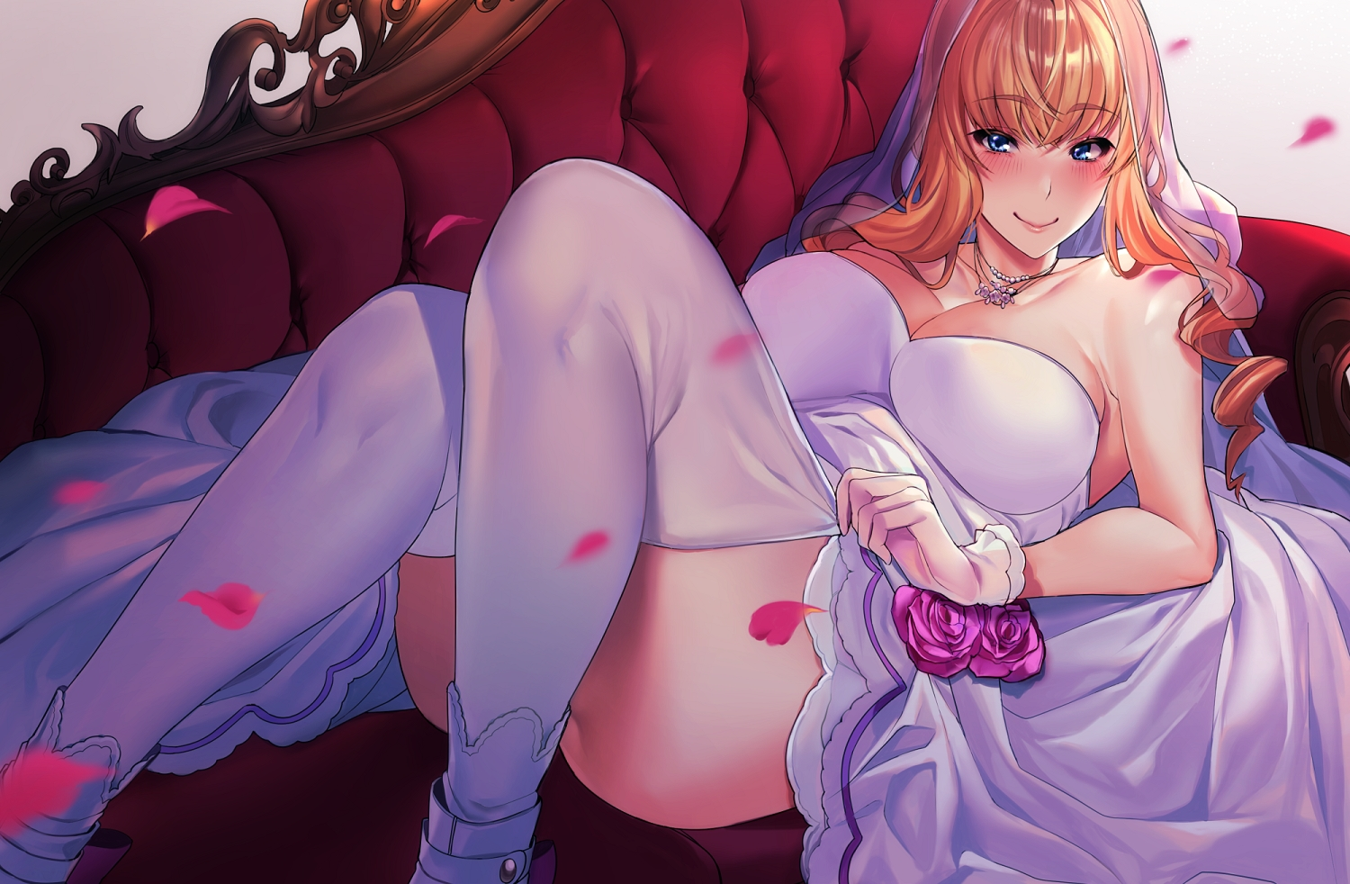 blue_eyes blush breasts cleavage couch dress gloves headdress long_hair macross macross_frontier necklace orange_hair petals raxxx25_3 sheryl_nome thighhighs wedding_attire