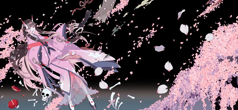 black_hair bones cherry_blossoms demon flowers horns japanese_clothes kimono long_hair petals pink_eyes shikimi_(yurakuru) skull