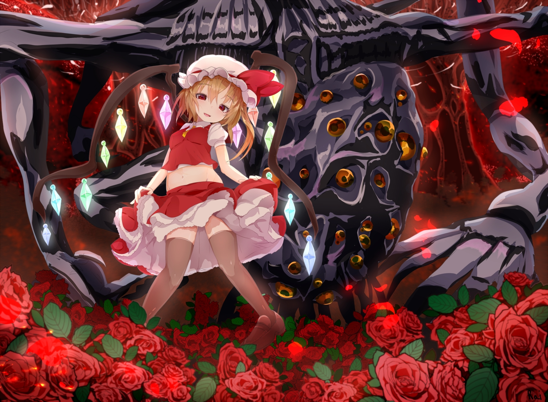 amygdala bloodborne crossover flandre_scarlet flowers navel rai_(sakuranbo_sugar) rose thighhighs touhou vampire