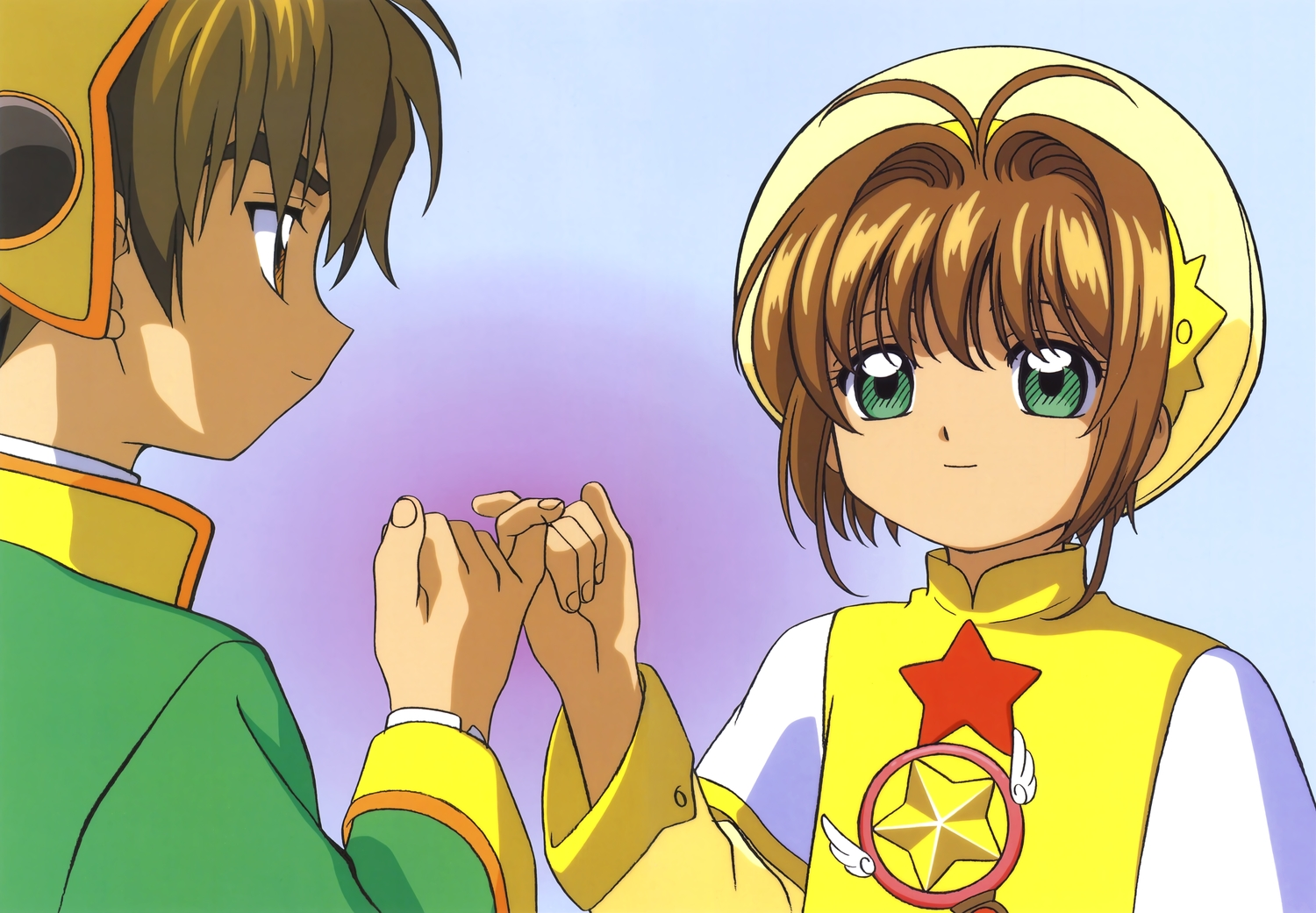 brown_eyes brown_hair card_captor_sakura clamp gradient green_eyes kinomoto_sakura li_syaoran male scan short_hair stars wand